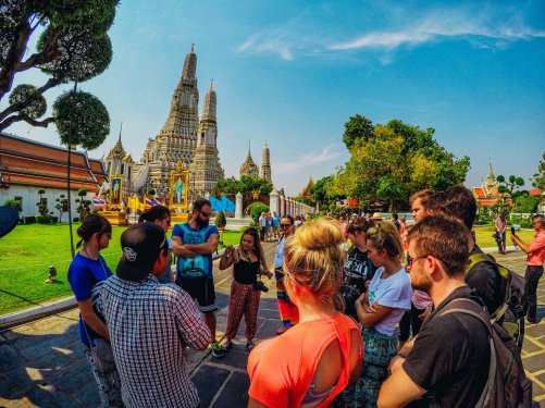 A group at the temple of Wat Arun in Bangkok Thailand