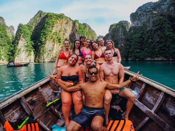 A group shot on a snorkeling trip in Koh Phi Phi Thailand