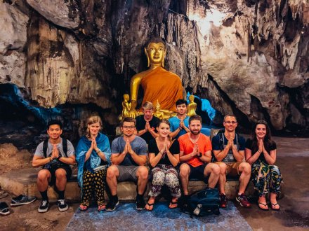 A group photo in the caves in Pai Northern Thailand