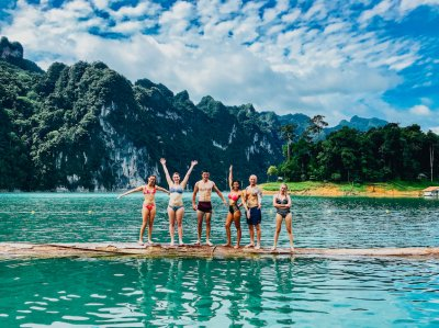 A picturesque group photo at Khao Sok national park by the floating bungalows