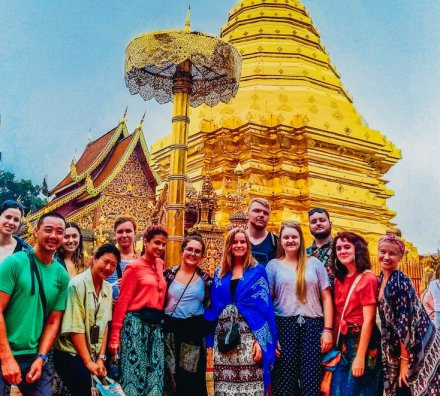 A group photo at the temple Wat Phra Singh in Chiang Mai Thailand
