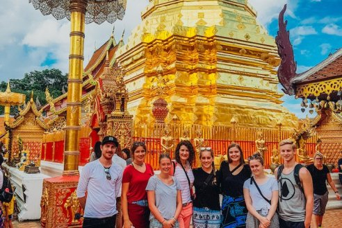 A group photo at Wat Phra Sing in Chiang Mai Thailand