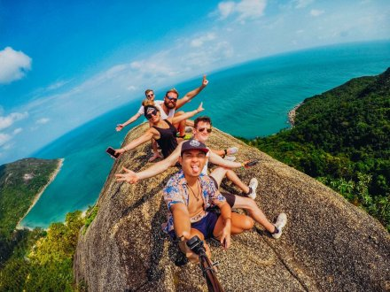 A selfie at the top of the viewpoint at bottle beach in Koh Phangan Thailand