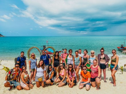 A group photo with crystal clear waters at bottle beach Koh Phangan Thailand