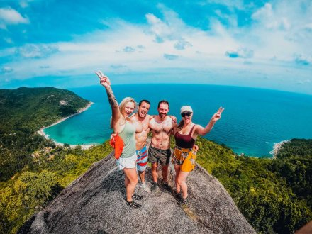 The top of the view point at bottle beach in Koh Phangan Thailand over looking incredible views